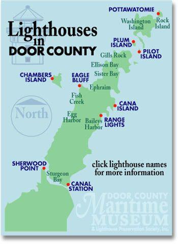 More Door County Lighthouses Door County Maritime Museum Door County Wisconsin Door County Lighthouses Door County
