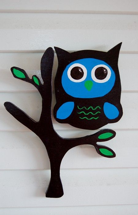 Owl sitting on a Tree, Wooden art Room Decor, brown and blue - by littlebugart on madeit