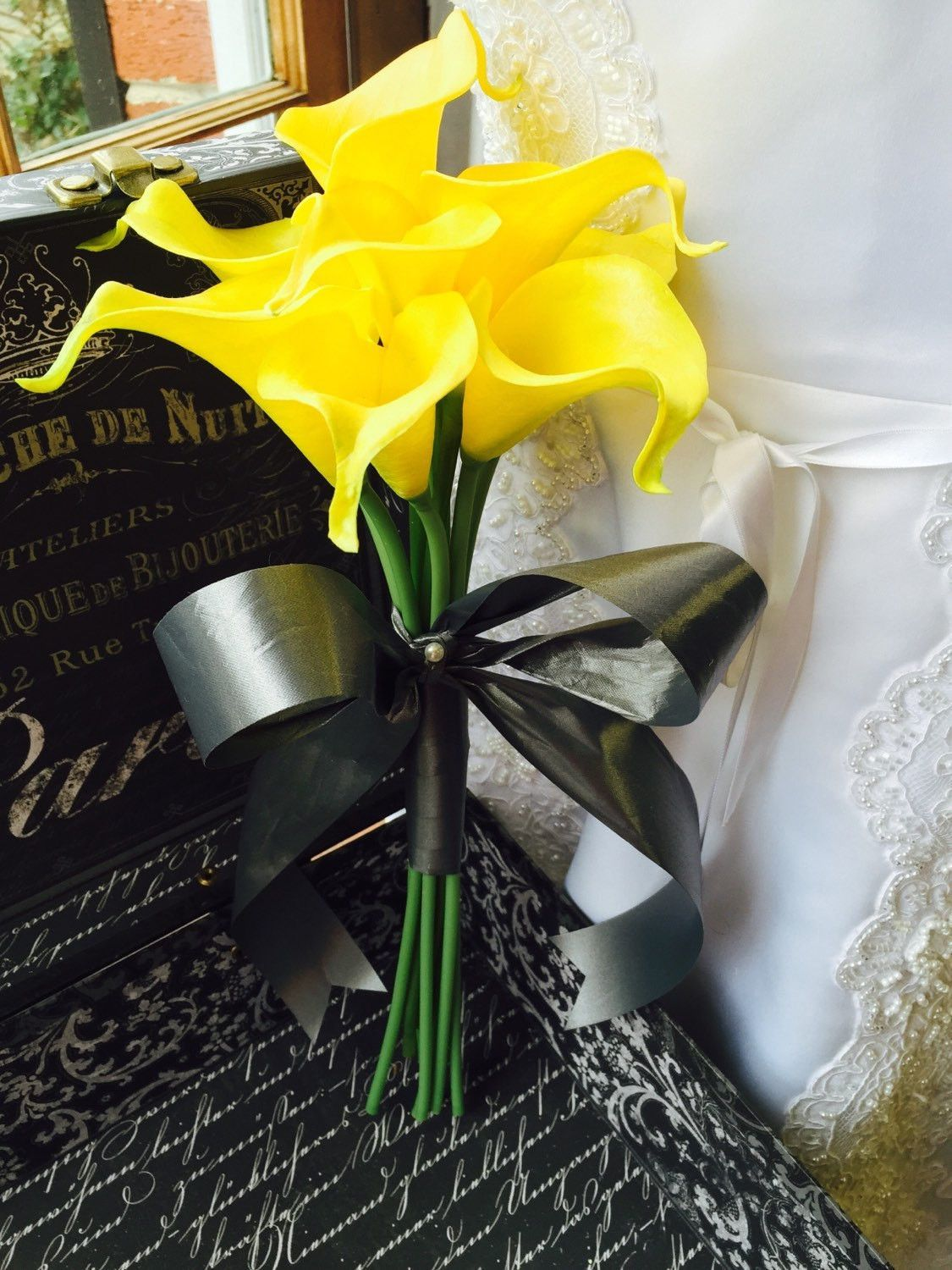 Wedding Bouquet, Real Touch Yellow calla lily Bouquet, Yellow Bridal ...