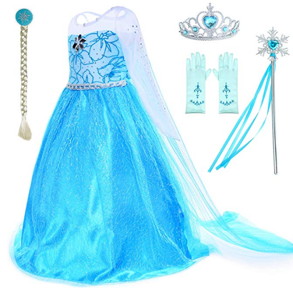 Princess Costumes Snow Queen Fancy Dress for Little Girls Birthday Party with Wig,Crown,Mace,Gloves Accessories