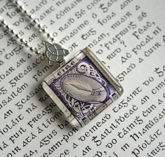 Irish Postage Stamp Necklace - Sword of Light - St Patricks Day Irish Necklace - Ireland Vintage Stamp Irish Jewelry