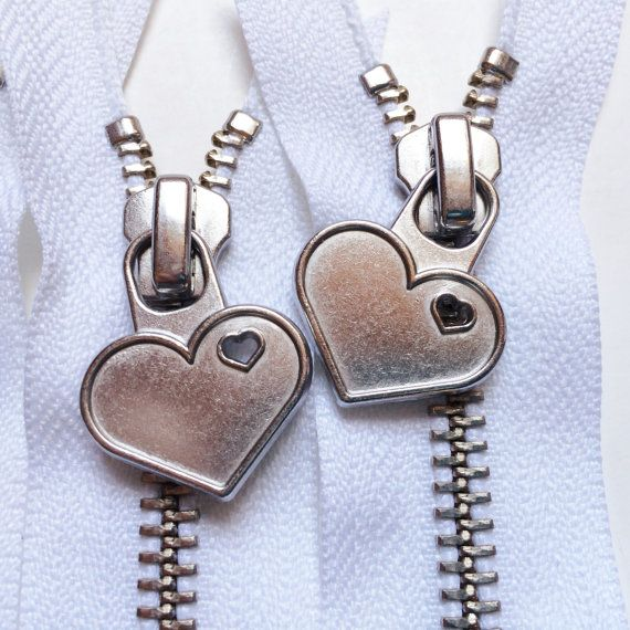 Metal Teeth 12 Inch Zippers with Special Heart Pull  YKK by zipit