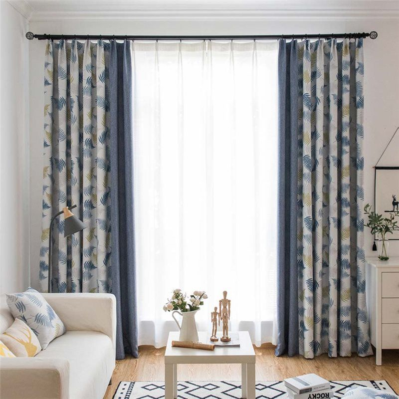 Fresh Leaf Printed Curtain Modern Nordic Style Curtain Living Room