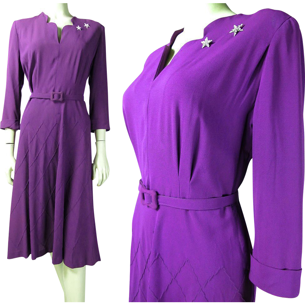 Vintage 1940\'s Forever Young Belted Purple Crepe Dress | VFG Fresh ...
