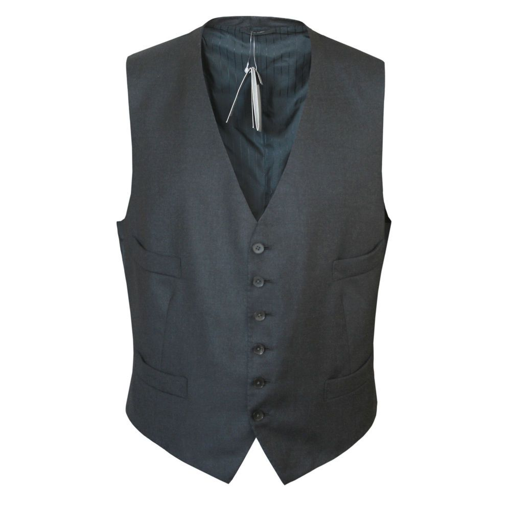 TOM FORD $890 mens dark gray wool cashmere waistcoat gilet suit vest 48/58  R NEW