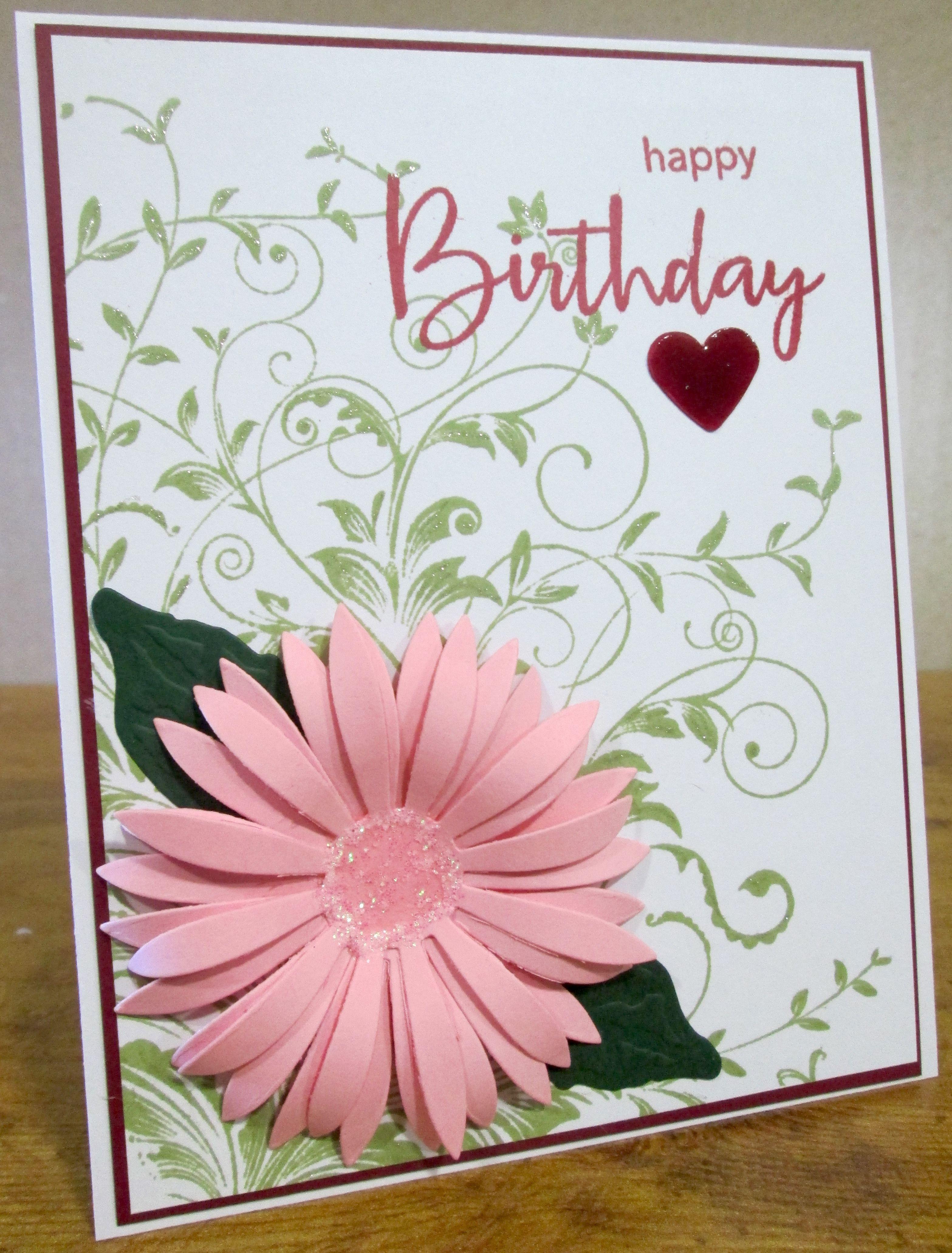 Hero Arts Leafy Vines Stamp With Spellbinders Pink Aster Flower