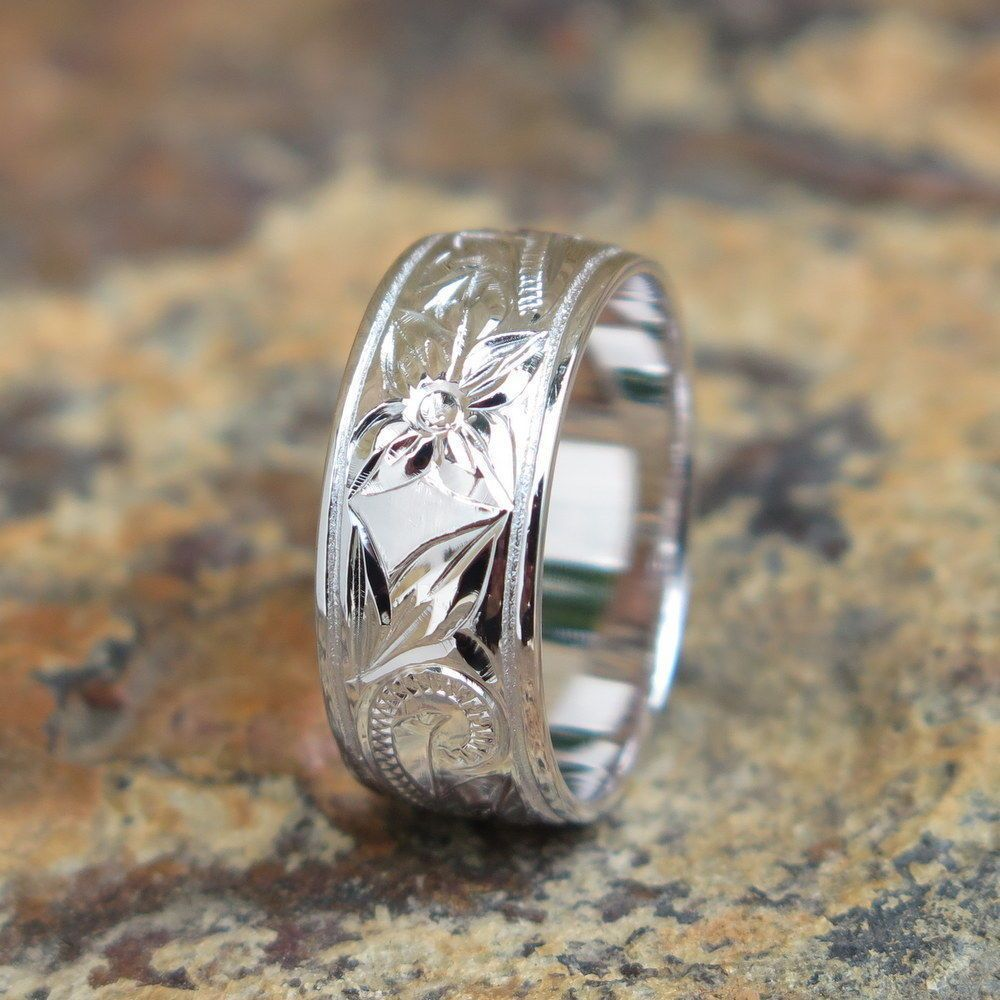 Hawaiian jewelry sterling silver floral scroll love wedding ring