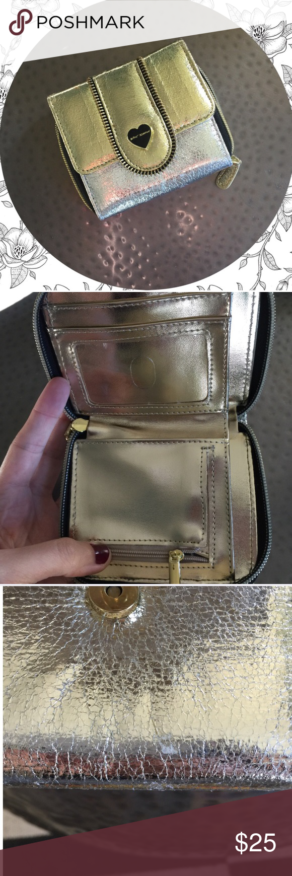 Betsey Johnson wallet Gently used. Small scuff as seen in last picture. NO TRADES Betsey Johnson Bags Wallets