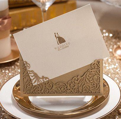 Goldene Kirliche Hochzeit Einsteckkarten Einladungen Kpl045 Tanja