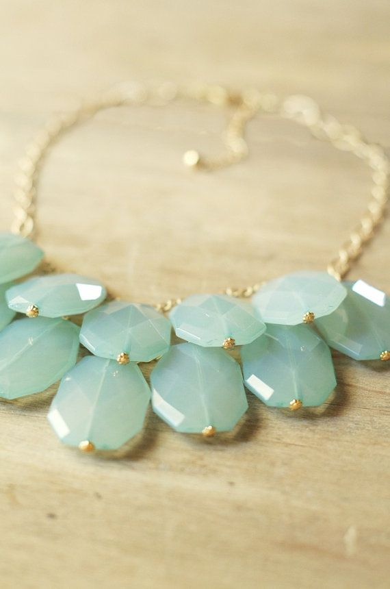 Aqua Mint Statement Necklace  Bib Necklace by ShopNestled on Etsy