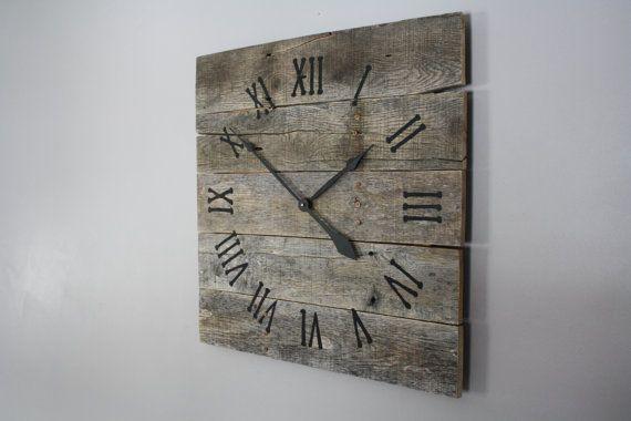 Farmhouse Clock Rustic Modern Pallet Wood Barnwood Look Custom