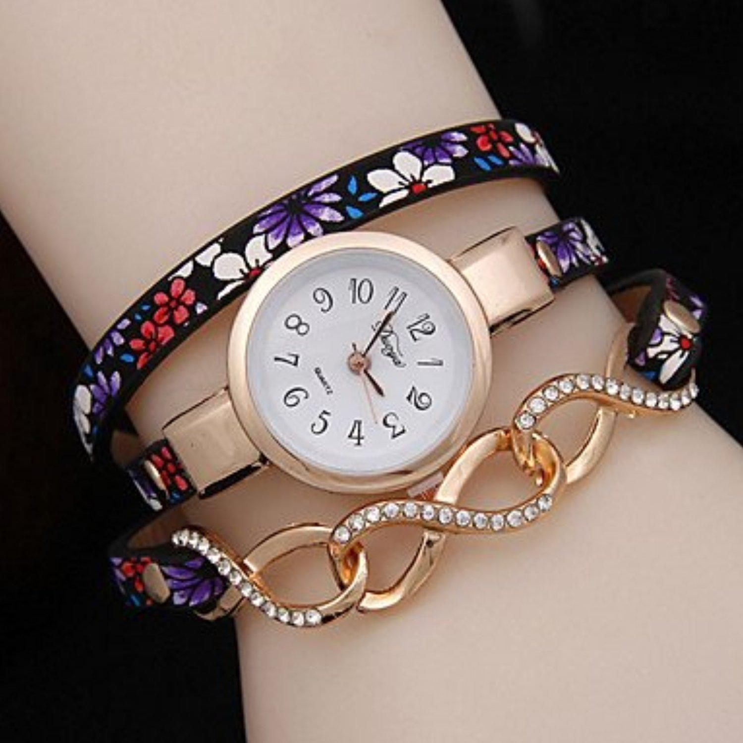 Women's Three Winding Folk Style Floral Twist Bracelet Watch Cool Watches Unique Watches ( Color : Black-Blue , Gender : For Lady ) - Brought to you by Avarsha.com