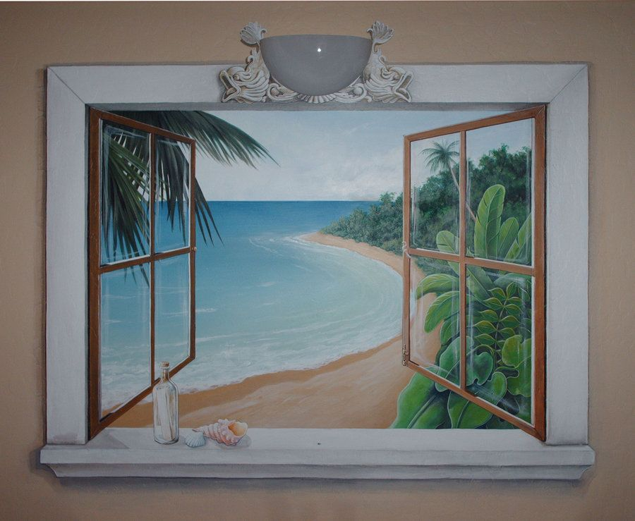 Mural painting of a window open window beach mural by for Beach window mural