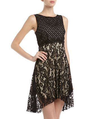 Eyelet & Lace Dress, Black by Alexia Admor at Neiman Marcus Last Call.
