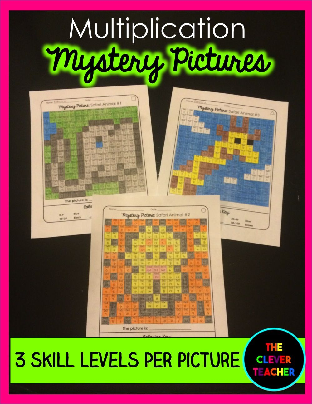 Mystery Pictures Safari - Multiplication Facts | Multiplication ...