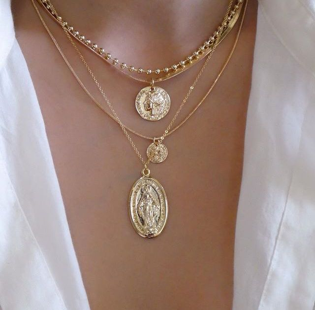 Photo of Layered pendant necklaces #gold
