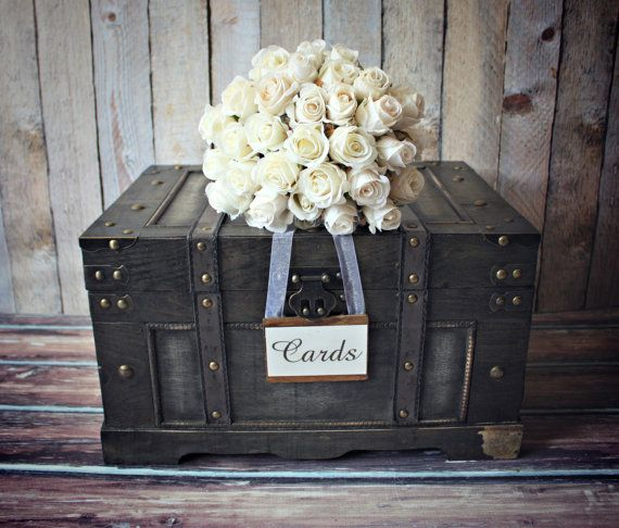 Trunk-large-XL-vintage inspired-shabby chic-wedding-card holder-rustic-wood-card box-suitcase-wood trunk-wishes-advice-wedding card-bride - $75 16x12x9.3tall