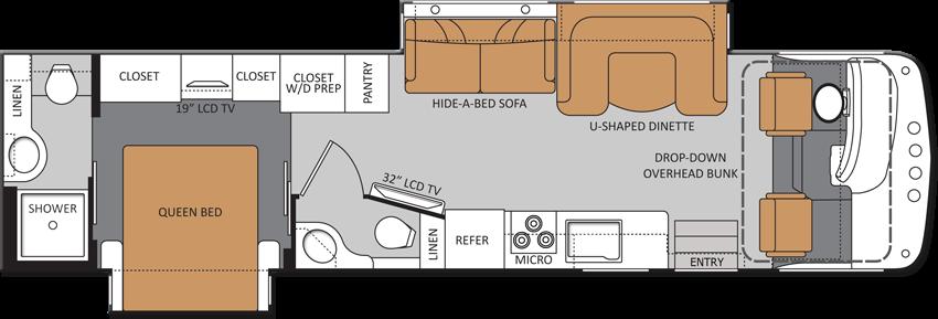 Bath And Half Class A Rv With Overhead Bunk Amp Rear