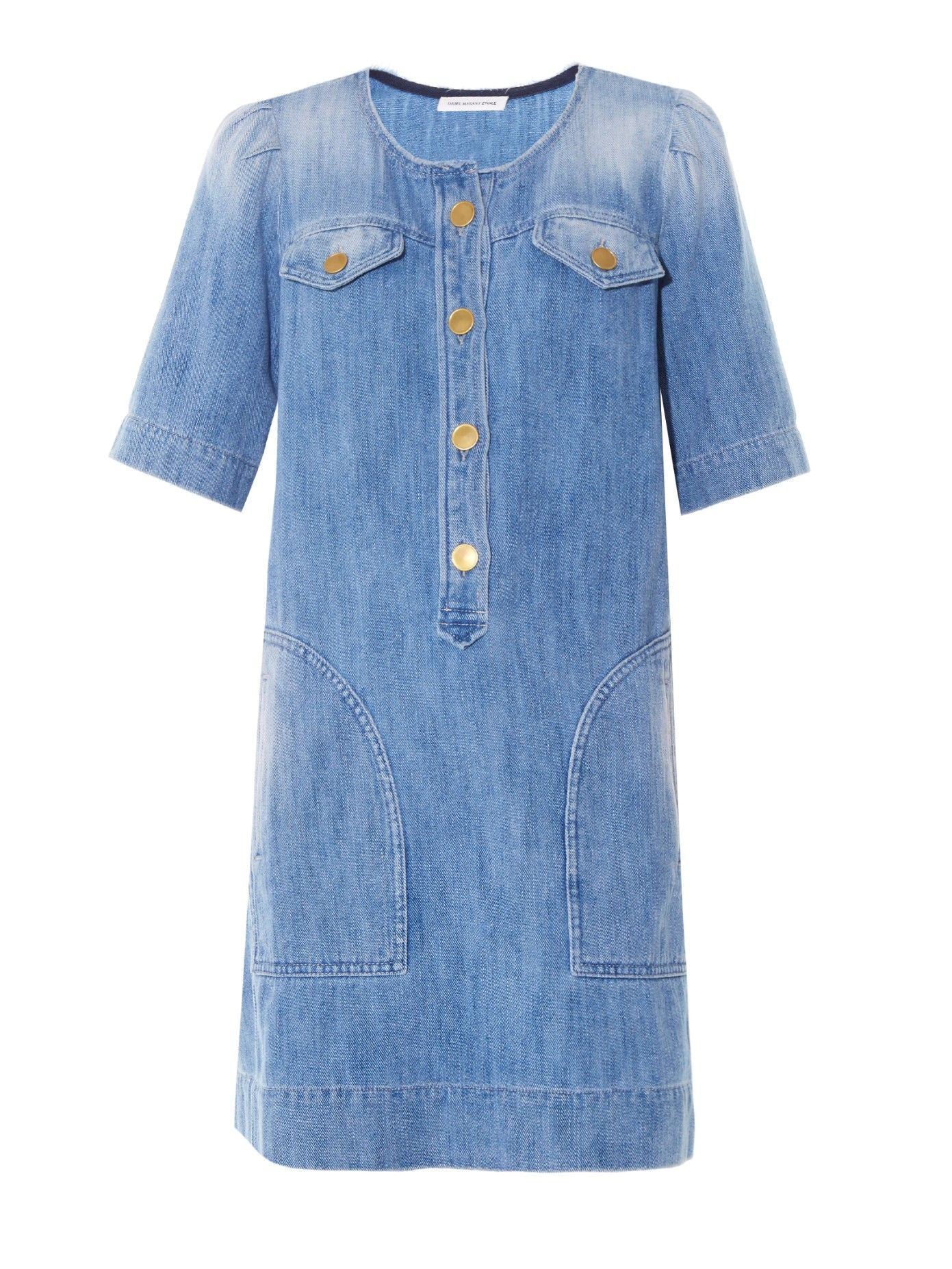 Oriane short-sleeved denim dress by Isabel Marant Étoile | Shop now at #MATCHESFASHION.COM