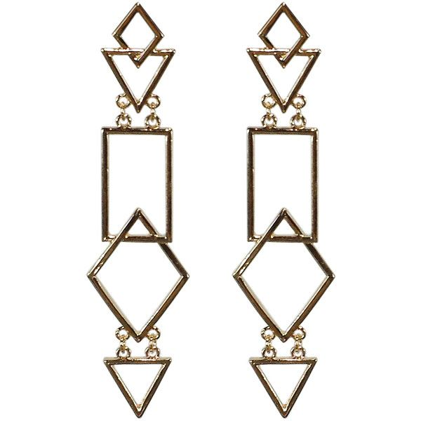 Pre-owned Gold Tone Geometric Dangle Earrings (92 BRL) ❤ liked on Polyvore featuring jewelry, earrings, joias, yellow gold dangle earrings, preowned jewelry, gold colored earrings, earring jewelry and yellow gold jewelry