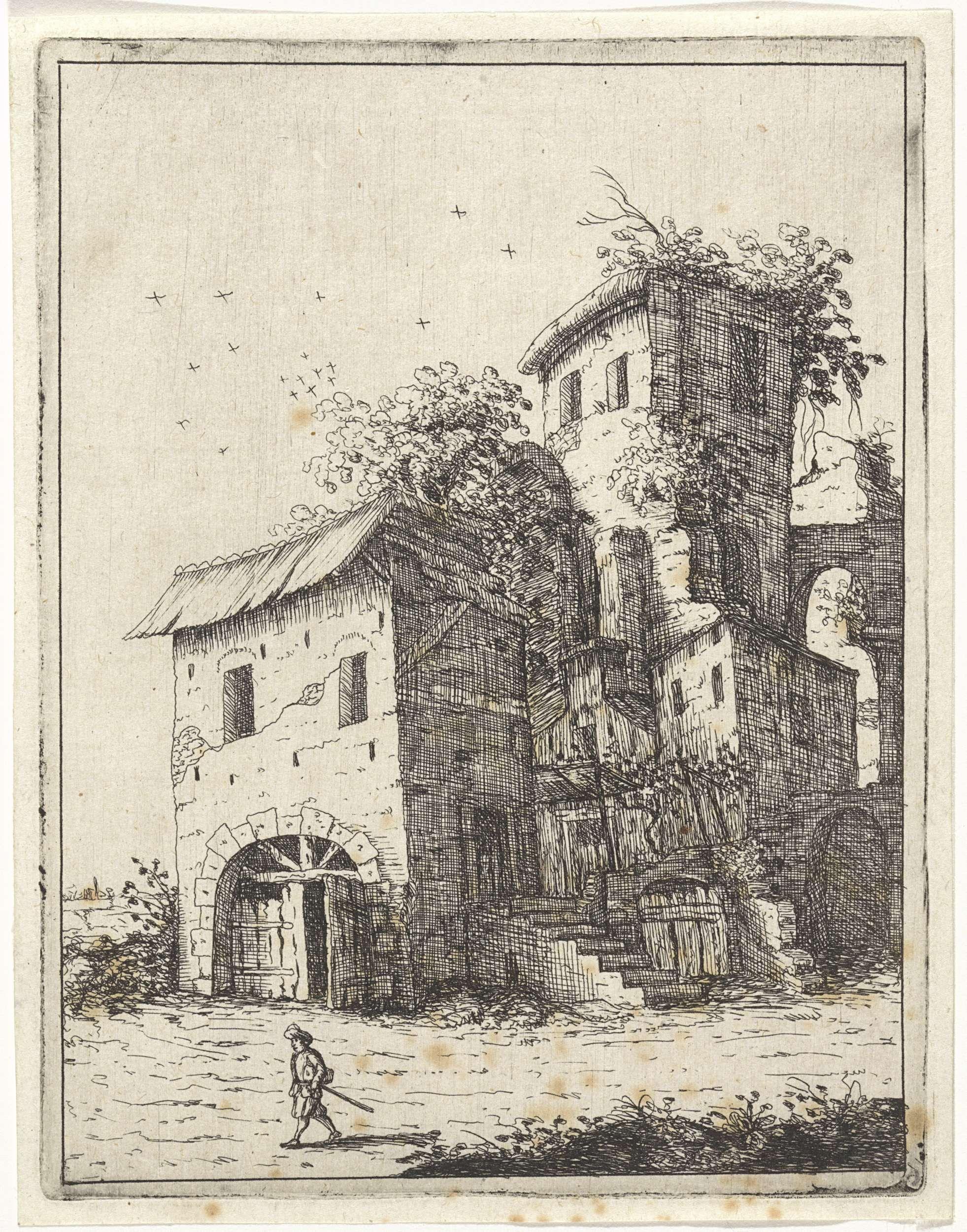 M. Schaep | Vervallen landhuis met een toren, M. Schaep, Bartholomeus Breenbergh, 1648 | In het midden een deels vervallen landhuis met een houten poort, een toren en een arcade. Links vooraan loopt een man.