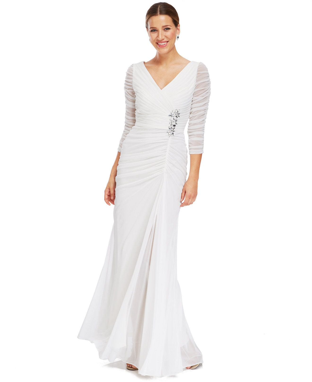Adrianna Papell Illusion-Sleeve Ruched Evening Gown - Bridal - Women ...
