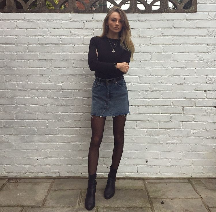buy popular factory price available Denim Skirt and Sheer Tights in 2019 | Denim skirt outfits ...