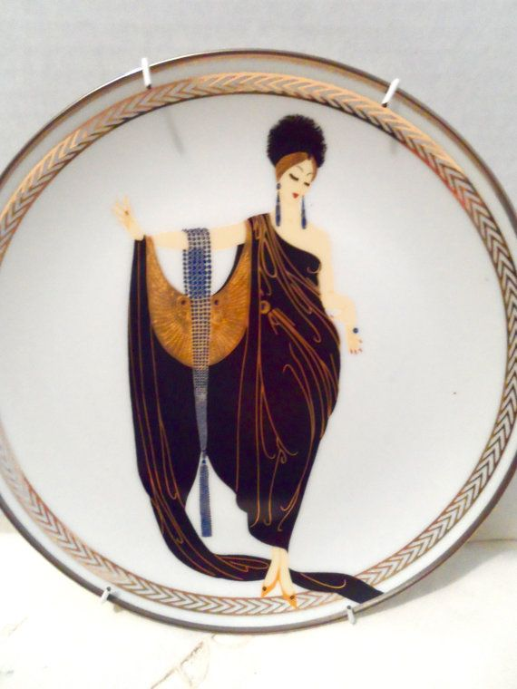 House of Erte Decorative Plate Egyptian by NowAndThenHomeDecor