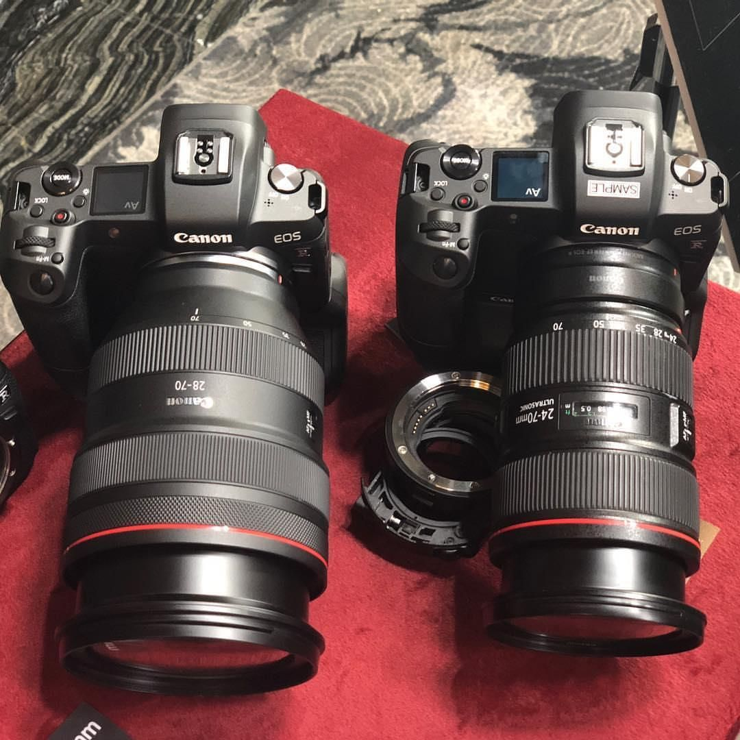 Interesting Size Comparison Canon Rf 28 70mm F 2 Next To Canon Ef 24 70mm F 2 8 Both Mounted On A Canon Eos R Canon Camera Canon Digital Camera Canon Eos R