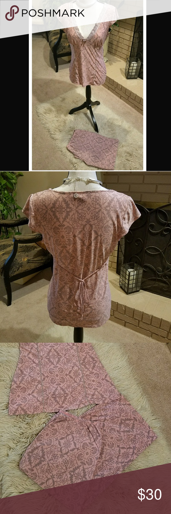 Linea Donatella pajamas LUV LUV LUV THESE! i have too many tho! Sz small..fits like a medium SOOO SOFT pretty blush pink w/grey &Pretty lace detail Plunging neckline gives it a classy sexy appeal all while ur in luxurious comfort !  The Pleated details make them very figure flattering Will model upon request but may just have to keep if i put them on! -SERIOUSLY..u want find nicer/more comfy pjs so pretty! Capri bottoms=elastic waist Purchased at macys for $65 No flaws.worn maybe 2xs…
