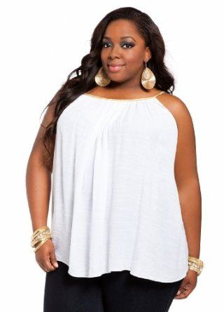 f0bf0621a2d Ashley Stewart Women's Plus Size Rope Accent A-line Blouse White 12 ...