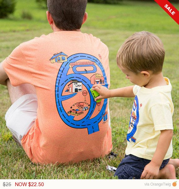 Father /& Son Daughter Matching T-Shirt Car Play Mat T-Shirt Fathers Day Gift