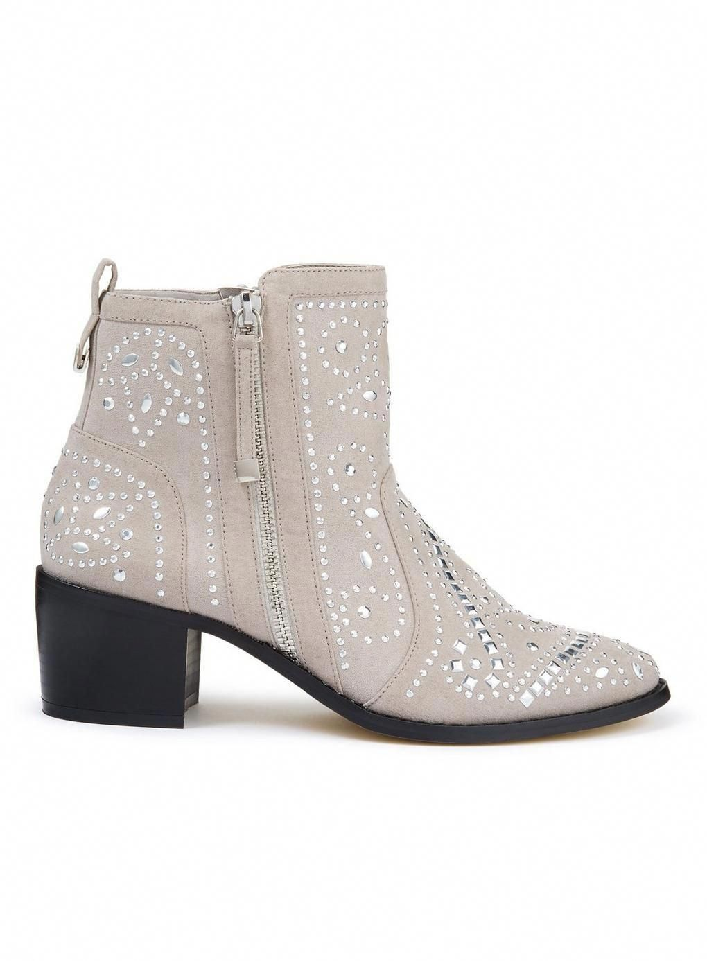 0654deb986 DAZZLE Grey Studded Ankle Boots -  76  womensfashionboots