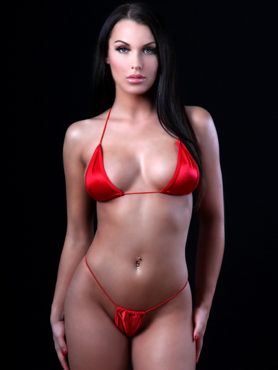 289969ea31a Woman in shinning RED spaghetti strap tri top Cstring frontal view
