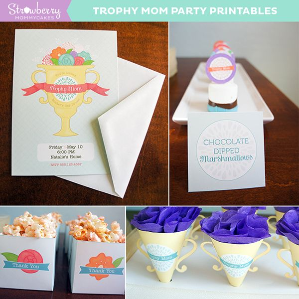 graphic relating to Printable Trophy Labels called Trophy Mother Moms Working day Printables - Invites, Cupcake