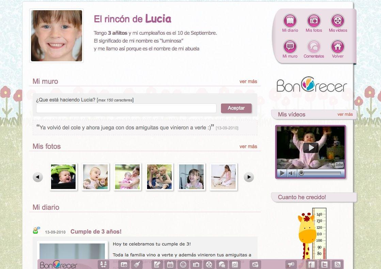 Vista página de tus hijos en www.BonCrecer.com