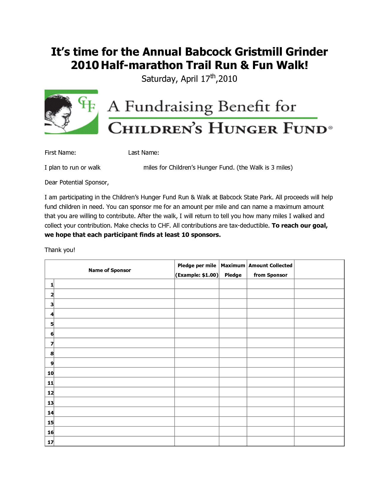 fun run pledge form | Fall Festival | Pinterest | Fundraising ideas ...