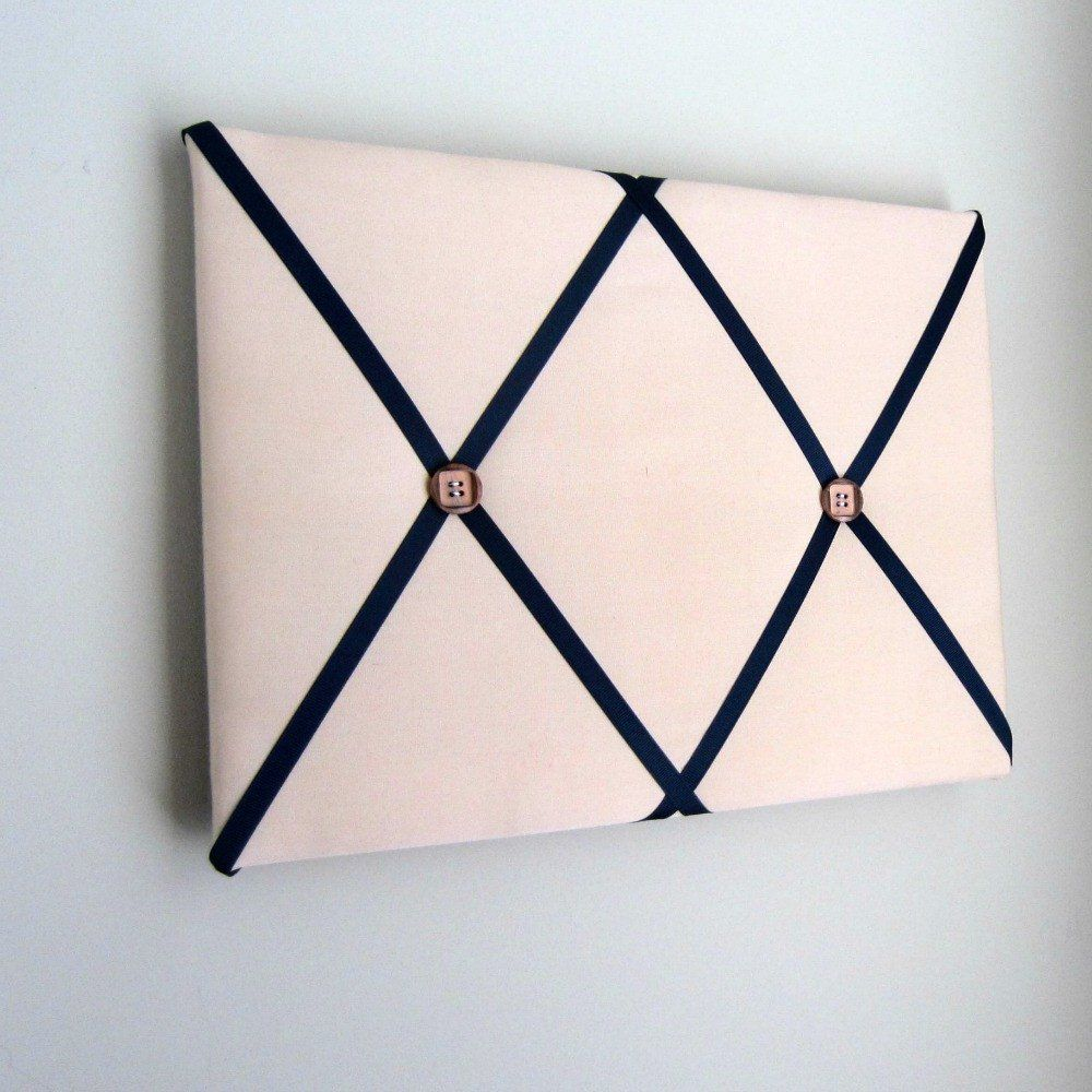11 X14 Memory Board Or Bow Holder Tan Navy Blue Fabric Pin