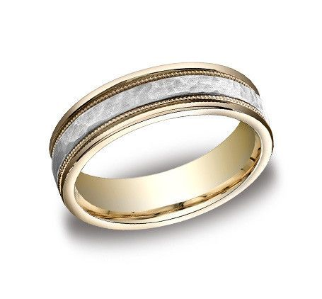 8mm Comfort fit Wedding Band Features A Hammered Finished Band In 14K Two Tone CFB15830814K-IBMD