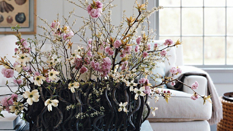 Cherry Blossom And Dogwood Arrangement Fresh Flower Market Decorative Containers Arrangement