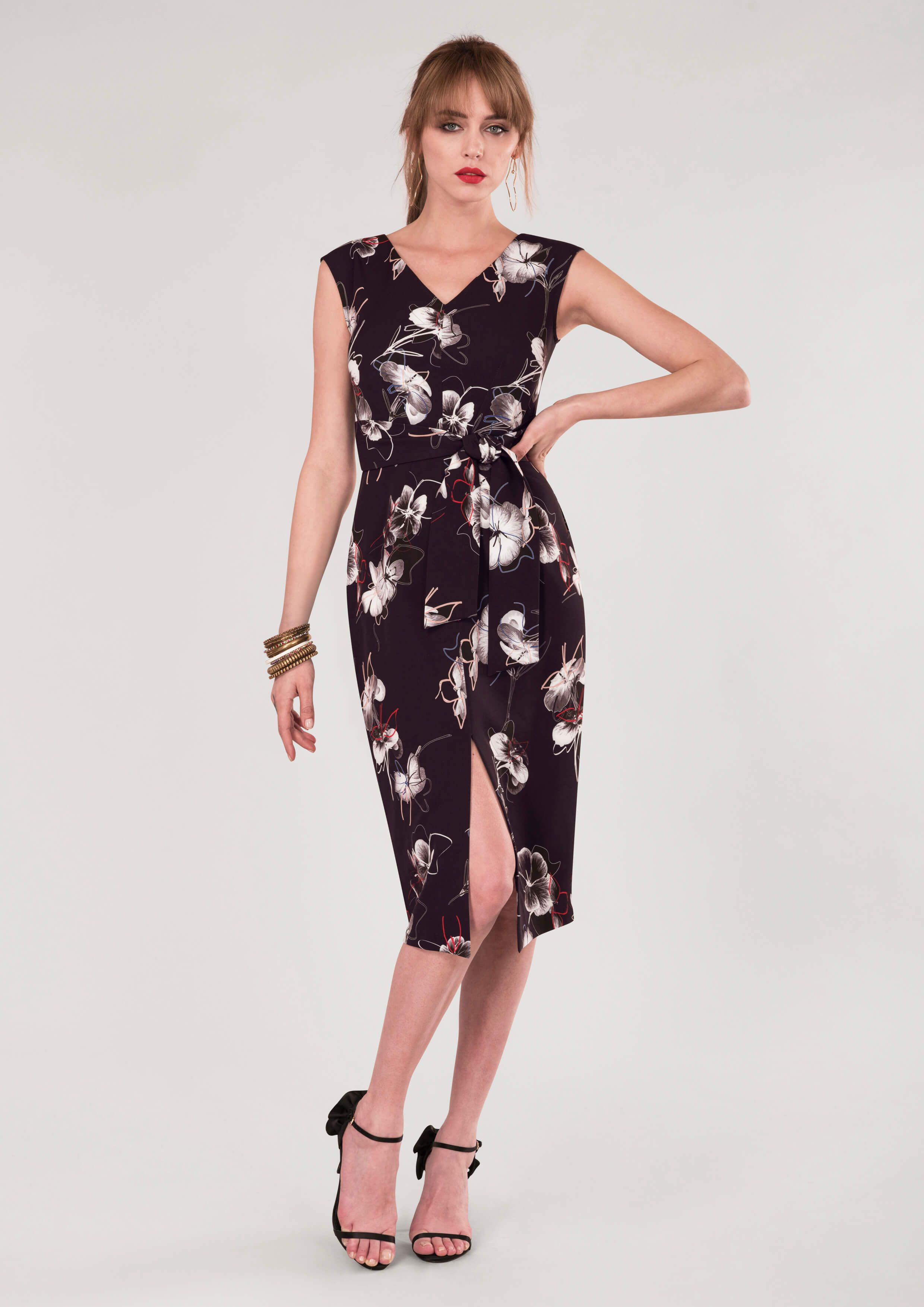 e0f40e74bf54 Black Floral Sleeveless Tie Front Wrap Dress - Wanderlust - Collections