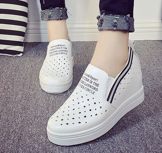 Stylish Ladies Hollow Out Slip On Hidden Wedge loafers Atheltic Sneakers Pumps