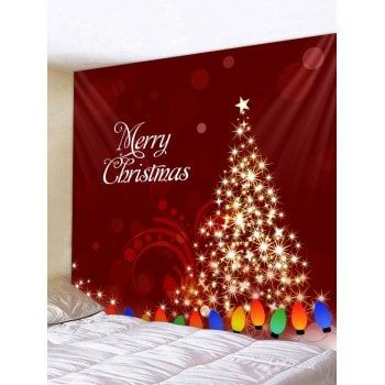 Merry Christmas Tree Printed Wall Tapestry Art Decoration