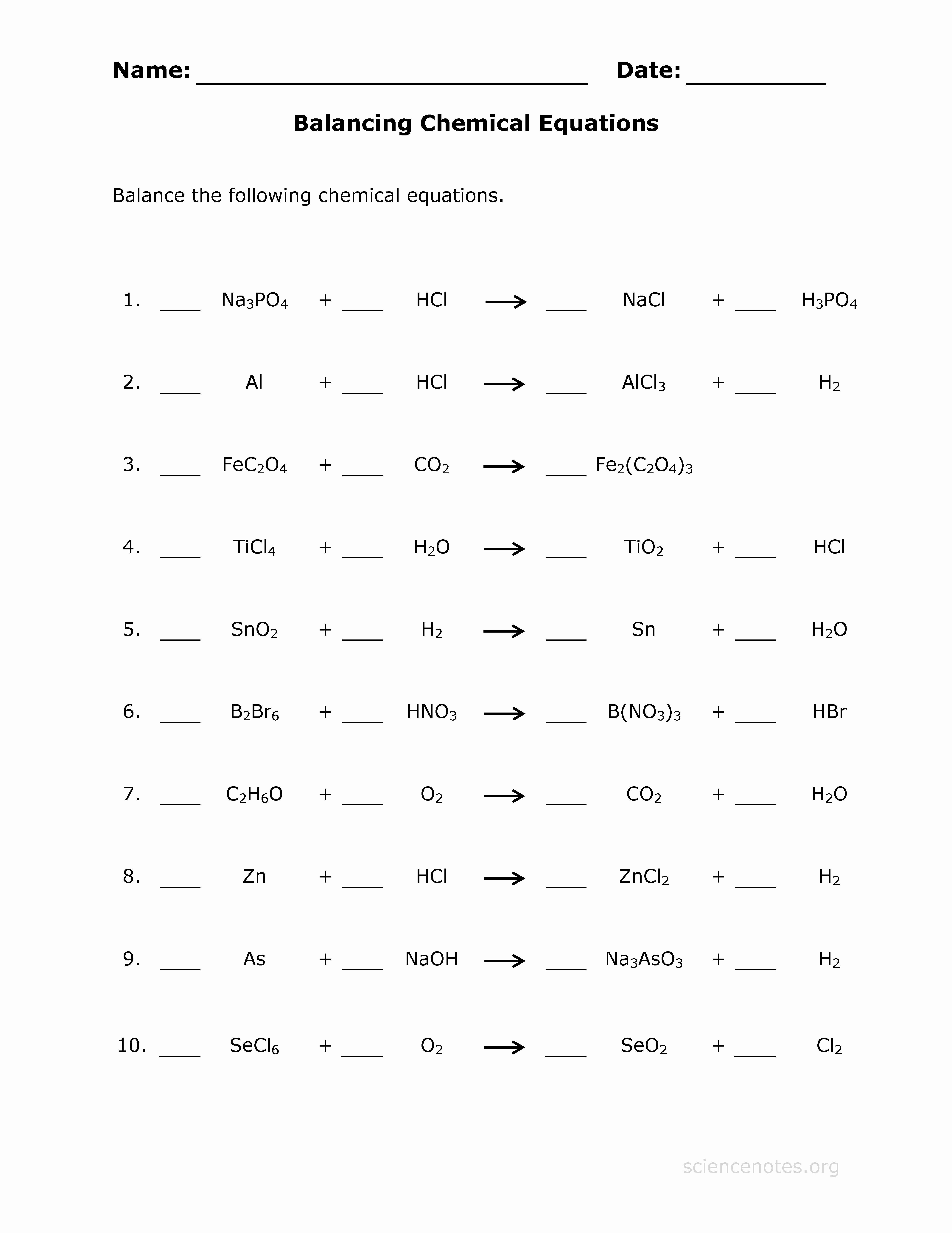 Balancing Chemical Equation Worksheet Lovely Balance