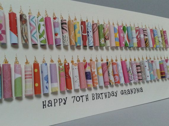 Large happy 70th birthday candle card can be personalised - Geschenk zum 25 geburtstag selber machen ...