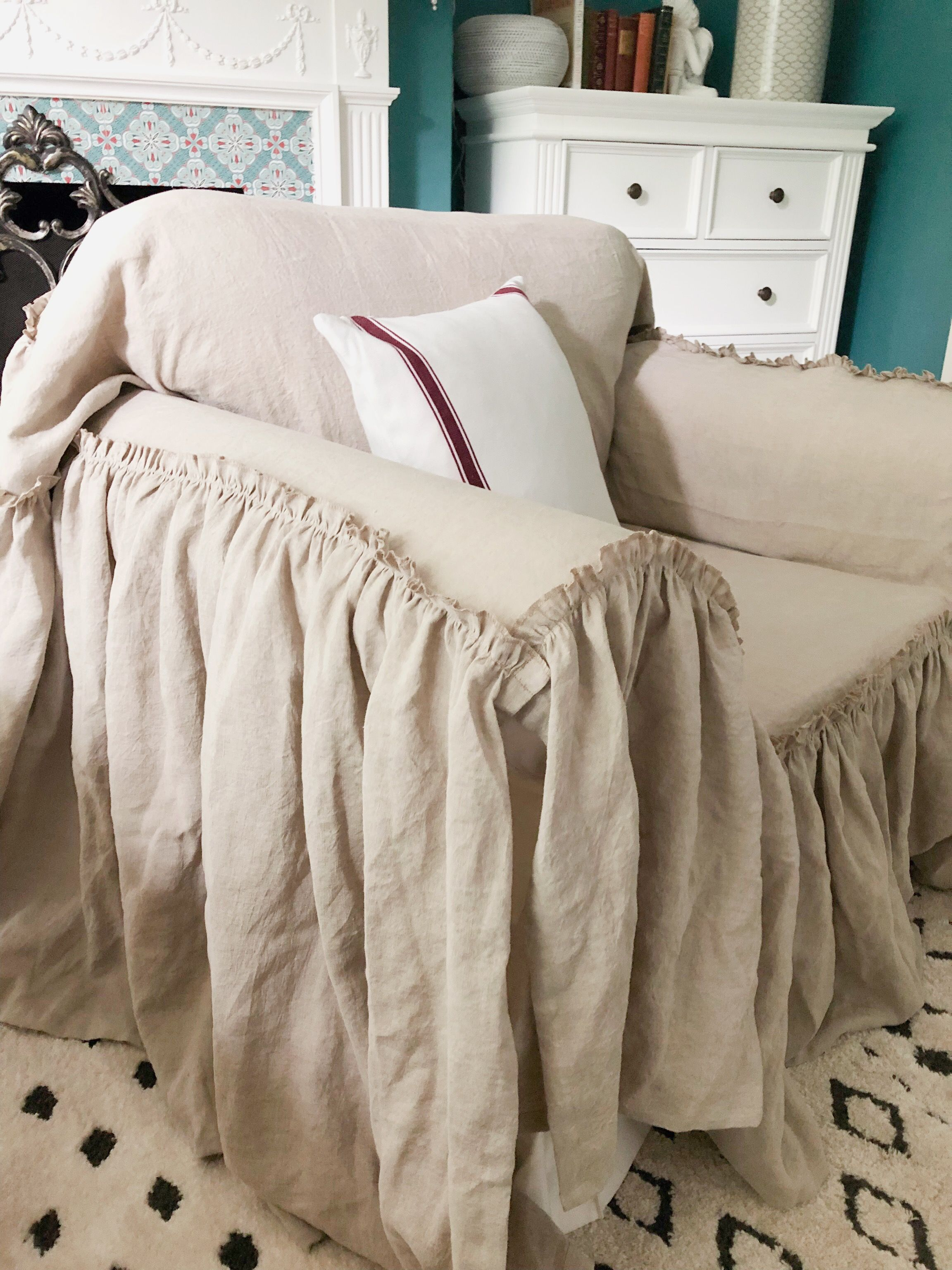 Natural linen slipcover Slipcovers for chairs