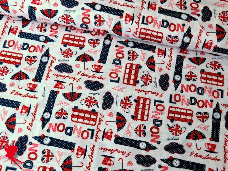 Baumwolle LONDON Motiv 1 weiß von Die Nähfee DIY auf DaWanda.com