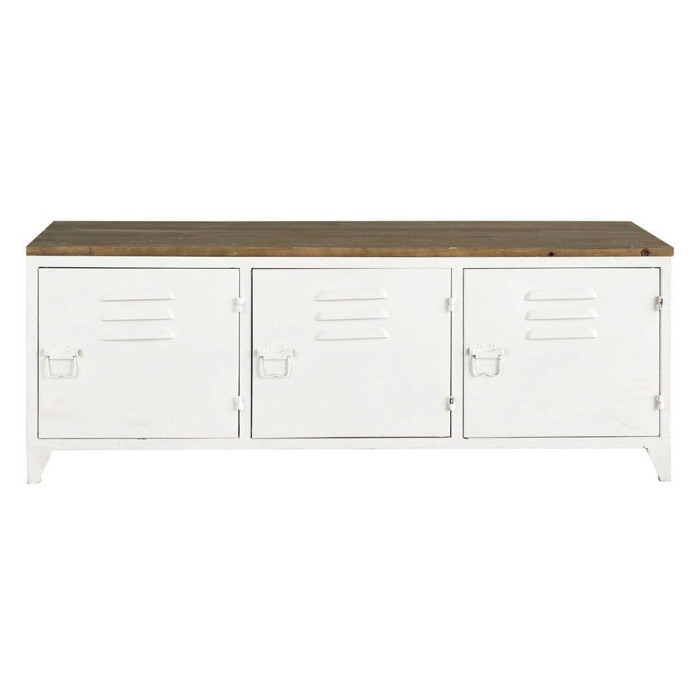 Metal TV unit in white W 118cm | Maisons du Monde | Lounge