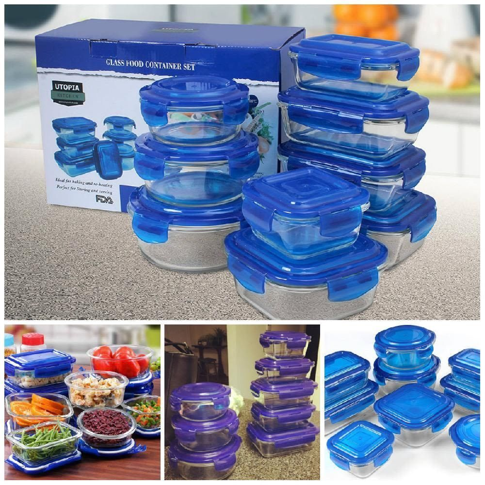 Glass Food Storage Container Set Oven Microwave BPA Free Prep Food
