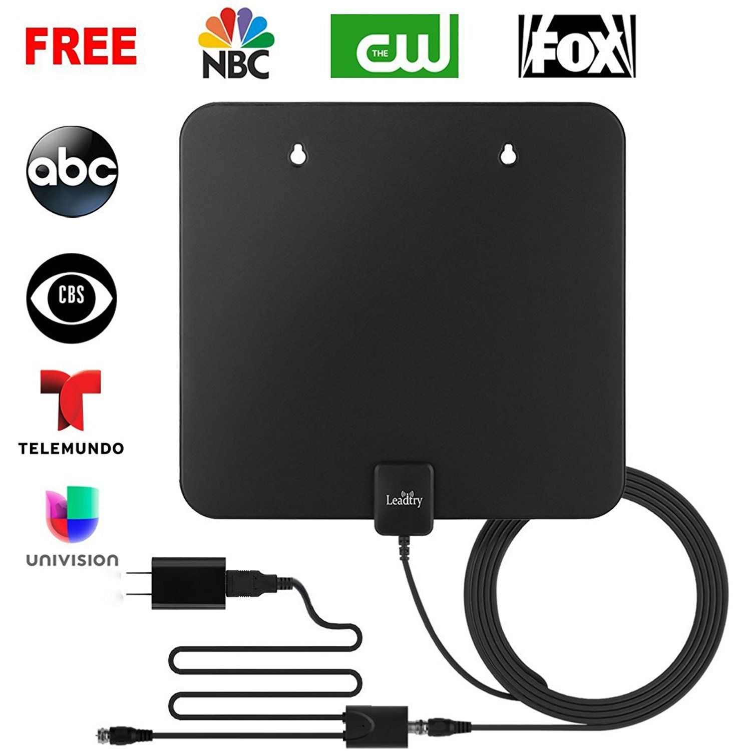 Amplified HDTV Antenna Indoor 50+mi Range OTA Free TV Channels for Cord Cutters